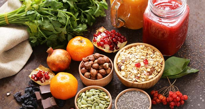 healthy foods spread on a table as part of the weight loss program